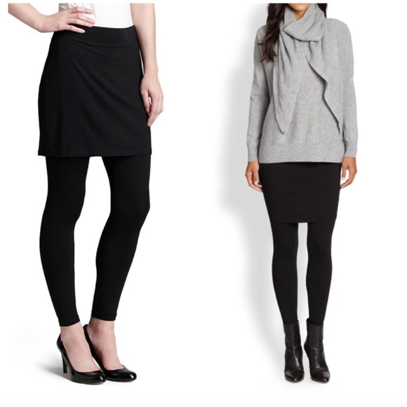 872b1031af500b Eileen Fisher Pants - Eileen Fisher Black Jersey Skirted Ankle Leggings